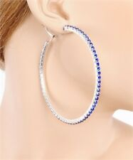 Fashion Jewelry Earrings Saphire Blue Crystal & Silver Large 3.75 in. Hoops/Hoop
