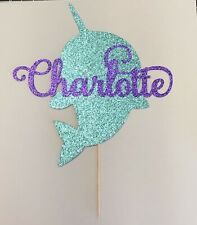 Narwhal Personalized Glitter Cake Topper Custom Party Decor