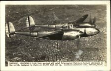 Lockheed Lightning P-38 Twin Engined Airplane in Flight Real Photo Postcard