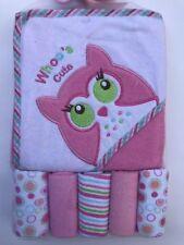 6 Piece Bath Set Baby Infant Hooded Towel Washcloth Owl Whoo's Cute Girl NEW