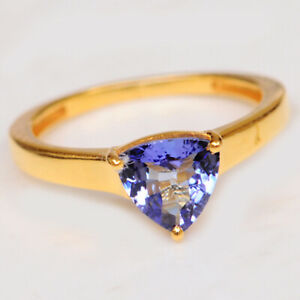 Trillion Shape 2.00Ct Natural Blue Tanzanite Solitaire Ring In 14KT Yellow Gold