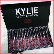 Kylie Jenner Negro Arco Líquido Lápiz Labial Mate 12 Piezas Conjunto de Colección