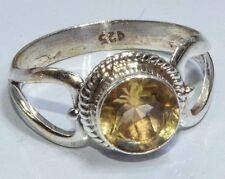 Sterling Silver Traditional Asian Vintage Style Golden Topaz Ring Size P Gift