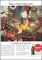1961 COCA-COLA SANTA WITH A COKE SHUSHING DOG BY CHRISTMAS TREE AD PRINT H898
