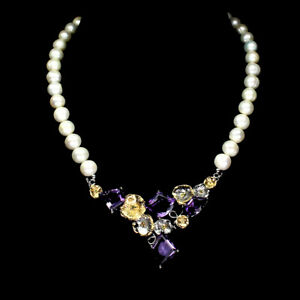 Handmade 33.94ct Amethyst Chrome Diopside Pearl 925 Sterling Silver Necklace