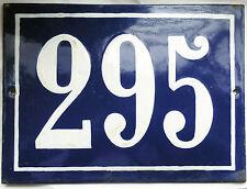 Old blue French house number 295 door gate plate plaque enamel steel metal sign