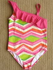Gymboree Tropi-Cute Green Ruffled Chevron Striped Swim Bathing Suit Swimsuit 12