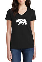 V-neck Ladies Mama Bear #3 T-shirt Mother's Day Gift Idea Funny Women Tee S-XXXL