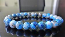 Blue Crackled Gemstone bead bracelet for MEN or Women Stretch AAA 8mm - 7.5""