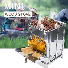 Tragbar Faltbare Holzofen Kocher Wood Stove Edelstahl für Camping Kochen BBQ Neu