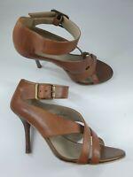 M&S Autograph size 5 (38) tan brown leather buckle strap stiletto heel sandals