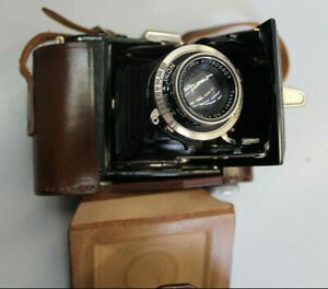 HE07) Alte Klappkamera, Zeiss Ikon Compur Rapid, mit Tragetasche