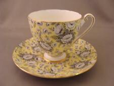 RARE SHELLEY TAPESTRY ROSE Cup & Saucer Yellow Background Black & Grey Chintz