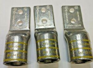 3 NEW YA44L2NT38FX  BURNDY 750MCM 2 HOLE COPPER COMPRESSION LUG