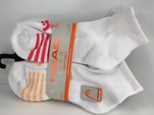 Women's HEAD White 10% COTTON Cushioned Quarter Crew Socks - 6 PACK - $36 MSRP