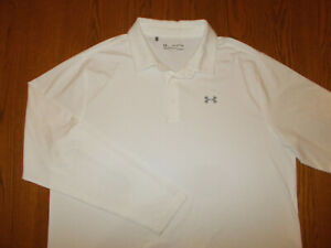 UNDER ARMOUR HEAT GEAR LONG SLEEVE WHITE POLO SHIRT MENS 2XL EXCELLENT COND.