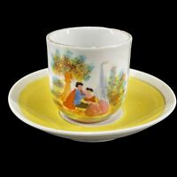 Antique Victorian Hand Painted Porcelain Demitasse Cup & Saucer Yellow Gold Trim