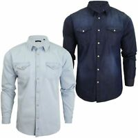 Brave Soul Mens Long Sleeved Denim Shirt