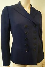 LAUREN RALPH LAUREN Navy Blue Wool Double Breasted Formal Blazer Jacket US4 UK8