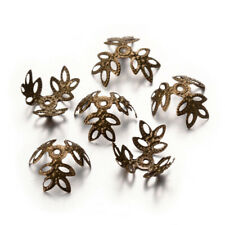 69pcs/10g Iron Filigree Bead Caps 3-Petal Bumpy Bronze Nickel Free Hollow 13x4mm