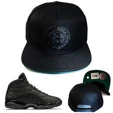 Mitchell & Ness Brooklyn Nets Black Snapback Hat Matches with Jordan 13 Blackcat