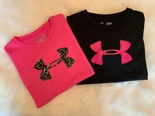 Under Armour Lot of 2 Heat Gear Girls Short Sleeve Shirts Youth Large Pink/Black