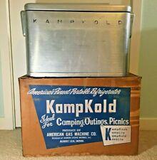 VINTAGE 1950's KampKold Kamp Kold Metal Aluminum Cooler Ice Chest w/Box - NICE!