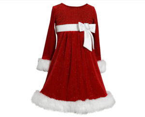 Girl's Bonnie Jean Velvet Faux-Fur Santa Dress - MSRP $68.00