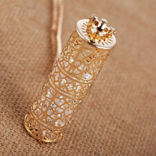 Hot Crystal  Long chain heart Necklace  Hollow  cylinder  Statement  Pendant