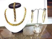 Hugs & Kisses Necklace Womens 14K Gold Bracelet all Stainless Steel Earring Set