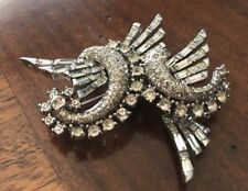 Antique Pennina Sterling Silver with Rhinestone Wings Brooche