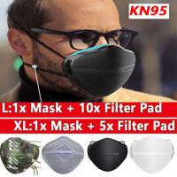 Reusable Face Mask W/Carbon Filters Mouth Nose Separate Anti Haze Fog Washable