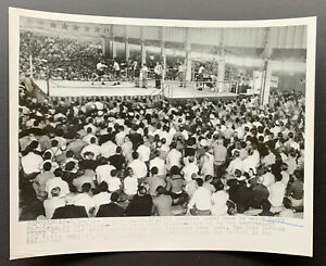 Vintage 1955 Boxing Wire Photo California Crowd Watches Rocky Marciano Training
