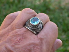 United States Navy Military Aqua March Birthstone Stainless Steel Men Ring 10