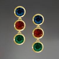 ECHT GOLD *** Ohrstecker Ohrhänger Zirkonia rot / grün / blau, 18 mm