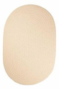 Rhody Rug Solid Polyester Oval Braided Area Rug, 5 by 8-Foot, Cream