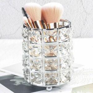 Crystal Organizer Makeup Storage Brush Holder Cosmetic Box Pen Metal Case Tube