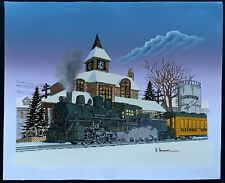 """H Hargrove 12"""" x 16""""  """"Champaign, Illinois Train Station"""" Painting on Canvas"""