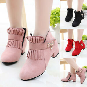 Child Kids Girls Warm Fur Lined Suede Zip Princess Party Ankle Snow Boots Shoes