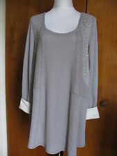 Anthropologie by Eloise women's gray fabric knit detailed mini dress Large NWT