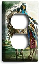 Warrior Girl On Wild Horse Duplex Outlet Wall Plate Cover Teen Gamer Room Decor
