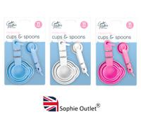 10Pc MEASURING CUP & SPOON SET Plastic Kitchen  Tool Kit Cake Baking Cooking UK