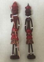 Vtg African Tribal Folk Art Wooden Hand Carved Two Fig. of a Man and a Woman #1