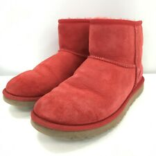 Ugg Women's Classic Mini II Boot UK 5.5 Coral Red Leather Lambskin Winter 291612
