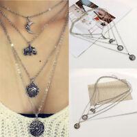 Women Elephant Moon Flowers Pendant Necklace Choker Multi-layer Jewelry_BohemiaW