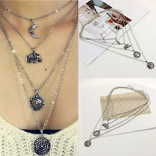 Women Elephant Moon Flowers Pendant Necklace Choker Multi-layer Jewelry Boho NA