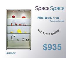 1.2m x 2m  Glass Showcase/Cabinet (silver) /LED Strip lights/ castors