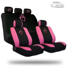 Deluxe Pink Heart Car Seat Covers and Headrest Covers Gift Set For Hyundai