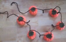 HAND KNITTED GLORIOUS PUMPKIN GARLAND. HALLOWEEN DISPLAY. 45 INCHES LONG.