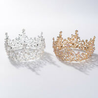 6cm High Crystal Round Crown Tiara Wedding Bridal Party Pageant Prom 2 Colors